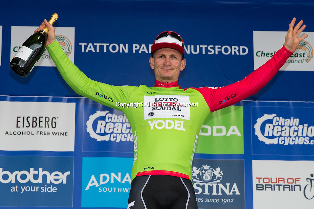06.09.2016. Tatton Park, Knutsford, England. Tour of Britain, Stage 3, Congleton to Knutsford.  Lotto Soudal rider Andre Greipel wins the green sprint jersey.