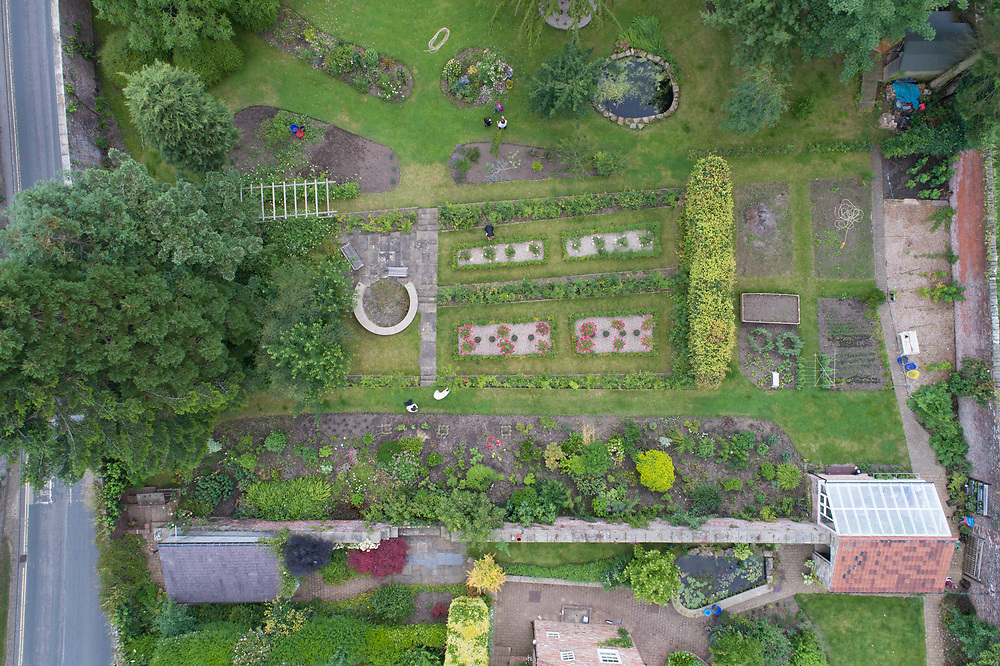 Above view of formal English garden, Richmond, Yorkshire, England