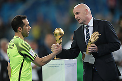 July 2, 2017 - Saint Petersburg, Russia - Claudio Bravo of the Chile national football team and  President of FIFA Gianni Infantino during the 2017 FIFA Confederations Cup final match between Chile and Germany at Saint Petersburg Stadium on July 02, 2017 in St. Petersburg, Russia. (Credit Image: © Igor Russak/NurPhoto via ZUMA Press)