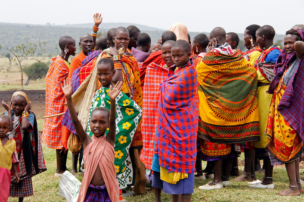 Africa, Kenya, Masai Mara. Maasai villagers of Olderkesi Community.