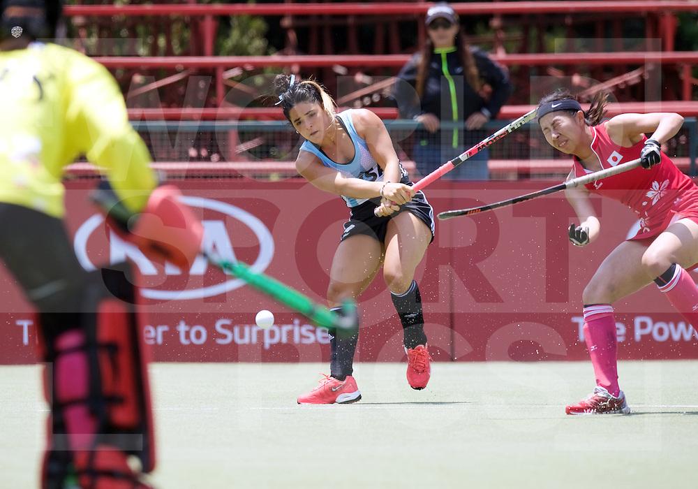 SANTIAGO - 2016 8th Women's Hockey Junior World Cup<br /> ARG v JPN (Pool B)<br /> foto: Maria Granatto shot on goal.<br /> FFU PRESS AGENCY COPYRIGHT FRANK