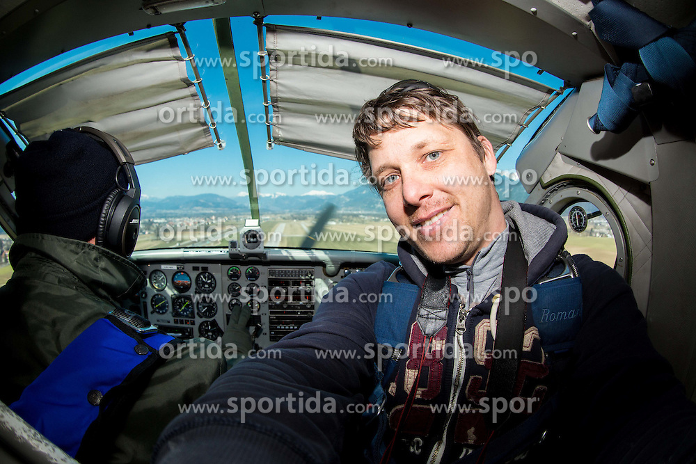 Photographer Vid Ponikvar in airplane, on March 10, 2015 in Airport Lesce, Slovenia. Photo by Vid Ponikvar / Sportida