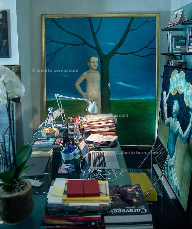 "Rome, the coservative studio Merlini Storti, pictured beside the desk, ""La Primavera"" by John Kirby (2002) restored by the studio in 2016."