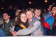 November 24, 1989. Prague, Czechoslovakia. Youngsters watching the events in TV, Velvet Revolution, 1989.
