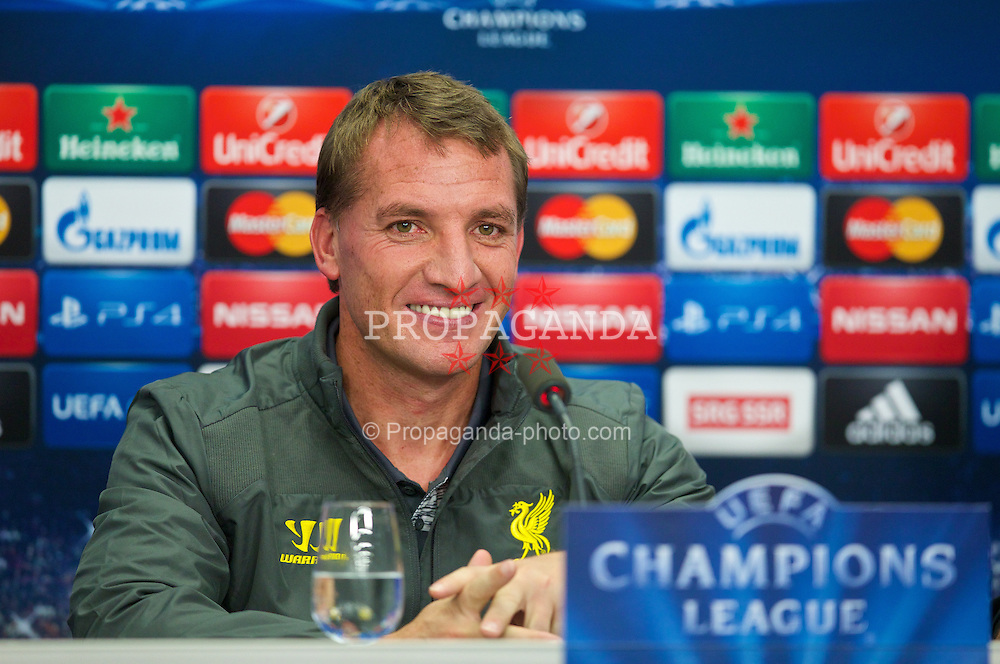 BASEL, SWITZERLAND - Tuesday, September 30, 2014: Liverpool's manager Brendan Rodgers during a press conference at the St. Jakob Stadium ahead of the UEFA Champions League Group B match against FC Basel. (Pic by David Rawcliffe/Propaganda)
