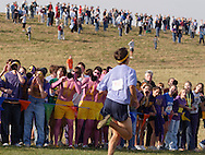 Warwick, N.Y. - Spectators, including some wearing purple and yellow body paint, cheer for runners near the finish of the Class AA boys' race at the New York State Public High School Athletic Association cross country championships at Sanfordville Elementary School on Nov. 11, 2006.<br />