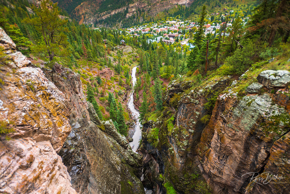 Box Canyon and the town of Ouray, Colorado USA