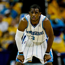 25 April 2009: New Orleans Hornets guard Chris Paul (3) on the court during a NBA Western Conference quarter-finals playoff game between the New Orleans Hornets and the Denver Nuggets at the New Orleans Arena in New Orleans, Louisiana.