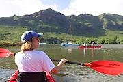 Kayaking Huleia River, Kauai, Hawaii, (editorial use only, no model release)<br />