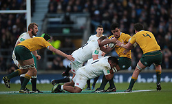 December 4, 2016 - London, England, United Kingdom - Australia's David Pocock  gets tackled by England's Mako Vunipola during Old Wealth Series match between England against Australia at Twickenham stadium , London, Britain - 03 December 2016  (Credit Image: © Kieran Galvin/NurPhoto via ZUMA Press)