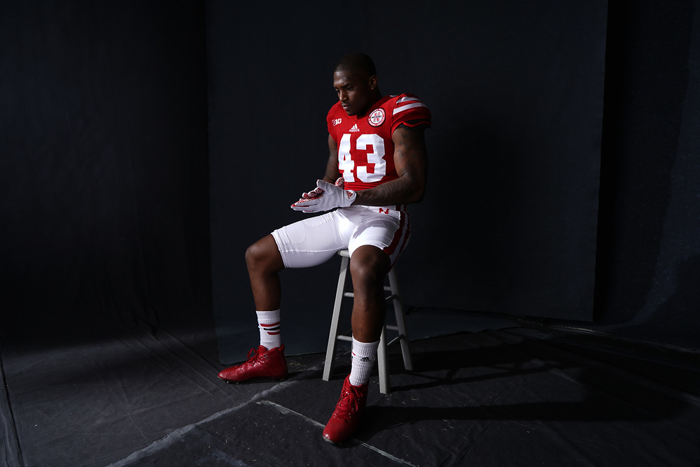 Tyrin Ferguson #43 during a portrait session at Memorial Stadium in Lincoln, Neb. on June 6, 2017. Photo by Paul Bellinger, Hail Varsity