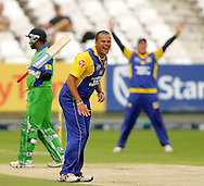 CAPE TOWN, SOUTH AFRICA - 14 December 2008, Charl Langeveldt appeals unsuccessfully for the wicket of Sanath Jayasuriya during the MTN Domestic Championship match between The Nashua Cape Cobras and Nashua Dolphins held at Sahara Park Newlands in Cape Town, South Africa..Photo by www.sportzpics.net