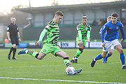 Forest Green Rovers Jack Aitchison(29), on loan from Celtic shoots at goal during the EFL Sky Bet League 2 match between Forest Green Rovers and Macclesfield Town at the New Lawn, Forest Green, United Kingdom on 29 December 2019.