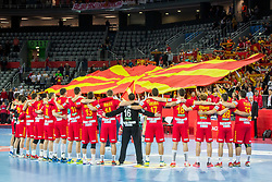 Macedonian team and fans during during handball match between National teams of Germany and Macedonia on Day 5 in Preliminary Round of Men's EHF EURO 2018, on January 17, 2018 in Arena Zagreb, Zagreb, Croatia. Photo by Ziga Zupan / Sportida