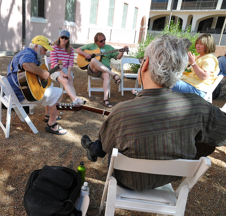 Ernest Troost with other musicians at the 2012 Tucson Folk Festival Ballad Tree. Event photography by Martha Retallick.