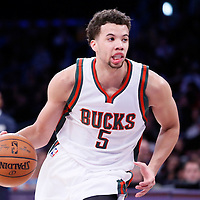 27 February 2015: Milwaukee Bucks guard Michael Carter-Williams (5) dribbles during the Los Angeles Lakers 101-93 victory over the Milwaukee Bucks, at the Staples Center, Los Angeles, California, USA.