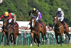 Classic Times ridden by Jack Mitchell (centre) goes on to win the British Stallion Studs Cecil Frail (Class 1) (Sponsored by Armstrong Aggregates) at Haydock Park Racecourse.