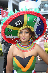 07062018 (Durban) Nelo Naiker showing off her Hat at the Vodacom Durban July flowing like water among the massive crowd expected at Greyville Racecourse in Durban for the running of the R4.25 million, Grade 1, Vodacom Durban July, the greatest racing, fashion and entertainment extravaganza on the African continent.<br /> Picture: Motshwari Mofokeng/African News Agency/ANA