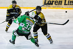 Linus Lundstrom of EHC Bregenzwald vs Rok Snoj of HK Playboy Slavija during 5th game of final INL league ice hockey match between HK Playboy Slavija and EHC Bregenwald at Dvorana Zalog, on April 3, 2013, in Ljubljana, Slovenia. (Photo by Matic Klansek Velej / Sportida)
