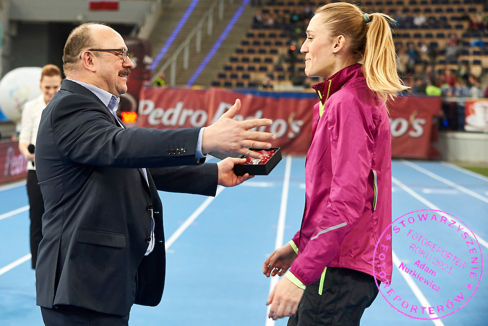 (L) Lech Leszczynski and (R) Kamila Licwinko from Poland during athletics meeting Pedro's Cup at Atlas Arena in Lodz, Poland.<br /> <br /> Poland, Lodz, February 17, 2015<br /> <br /> Picture also available in RAW (NEF) or TIFF format on special request.<br /> <br /> For editorial use only. Any commercial or promotional use requires permission.<br /> <br /> Adam Nurkiewicz declares that he has no rights to the image of people at the photographs of his authorship.<br /> <br /> Mandatory credit:<br /> Photo by &copy; Adam Nurkiewicz / Mediasport