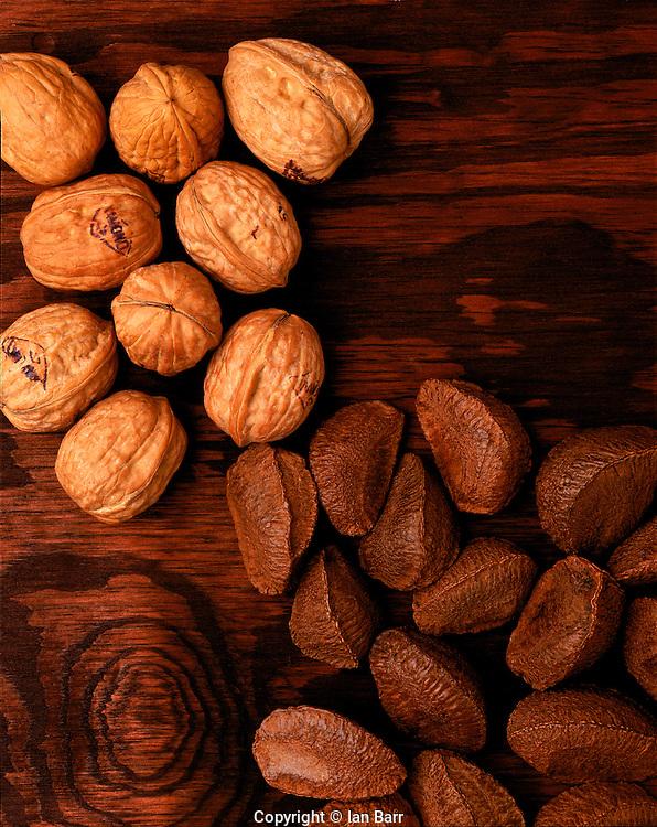 walnuts & brazil nuts on table