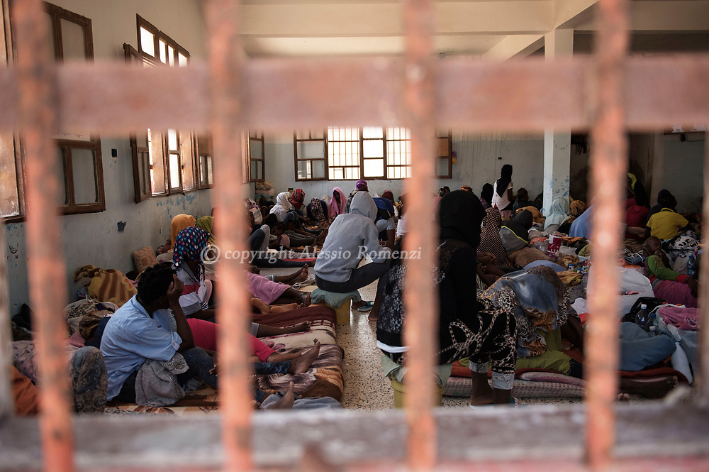 Libya, Surman: Women are seen inside the overcrowded cell inside Surman detention center. Alessio Romenzi