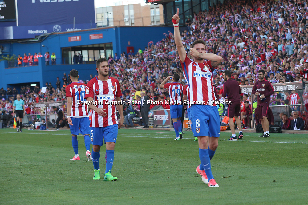 Madrid, May 6, 2017 - Saul celebrates after scoring the onlly goal of the game. Atletico de Madrid defeated 1-0 Eibar with goal scored by Saul at 69th minute. La Liga Santander matchday 36 game, Vicente Calderon Stadium. Photo by Antonio Pozo | PHOTO MEDIA EXPRESS