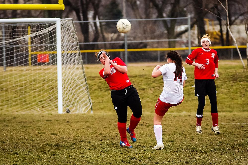 Lady Braves Girls Varsity Soccer vs LSA  at St. Teresa Tournament, Decatur, Illinois, March 15, 2013. Photo: George Strohl