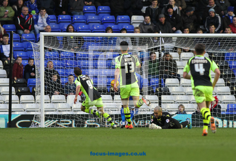 Picture by Tom Smith/Focus Images Ltd 07545141164<br /> 18/01/2014<br /> James Hayter (left) of Yeovil Town scores his sides first goal during the Sky Bet Championship match at St Andrews, Birmingham.