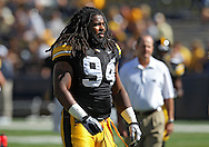 September 4 2010: Iowa Hawkeyes defensive end Adrian Clayborn (94) before the NCAA football game between the Eastern Illinois Panthers and the Iowa Hawkeyes at Kinnick Stadium in Iowa City, Iowa on Saturday September 4, 2010. Iowa defeated Eastern Illinois 37-7.