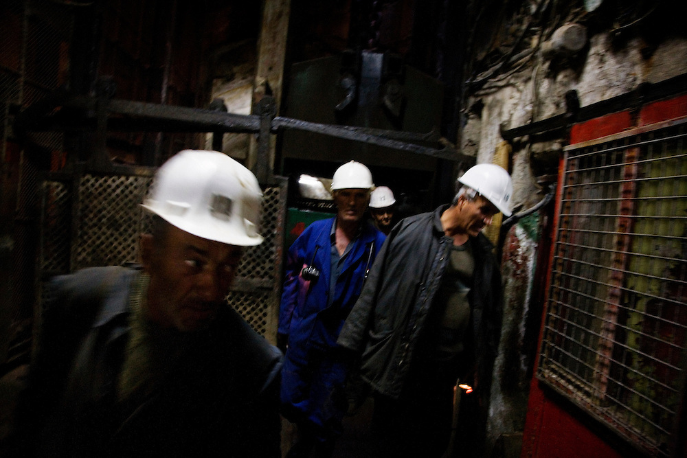 Inside the Stan Trg mine, part of the Trepca complex in Mitrovica, Kosovo. Once employing up to 300,000 people, the operation is on a skeletan crew after the war struggling to remain viable. International investment is approaching on the horizon, lending hope to the local populace that the once-thriving company could restart and jump-start the local economy.