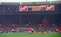 The scoreboard shows the 1:0 score between England and Germany in the last match at Wembley stadium. England 0:1 Germany, FIFA World Cup 2002 Qualifier Group Nine, Wembley Stadium, 7/10/2000. Credit: Colorsport / Stuart MacFarlane.