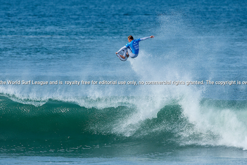 Kolohe Andino of the USA (pictured) winning his Round 3 heat causing a massive upset by eliminating Kelly Slater at the Quiksilver Pro France on Saturday October 10, 2015.