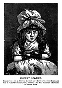 """Cherry Un-Ripe. Suggestion of a young artist (at home for the holidays) for a graphic companion picture to Mr Millais' charming """"Cherry Ripe."""""""
