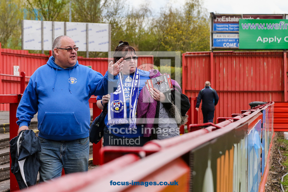 Lowestoft fans arrive before the National League North match at the Lamb Ground, Tamworth<br /> Picture by Andy Kearns/Focus Images Ltd 0781 864 4264<br /> 23/04/2016