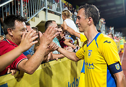 21.07.2016, Sports Park, Domzale, SLO, UEFA EL, NK Domzale vs Shakhtar Donetsk, Qualifikation, 2. Runde, Rueckspiel, im Bild Kenan Horic of NK Domzale celebrates with fans after winning // during the UEFA Europaleague Qualifier 2nd round, 2nd leg match between Grasshopper Club and KR Reykjavik at the Sports Park in Domzale, Slovenia on 2016/07/21. EXPA Pictures © 2016, PhotoCredit: EXPA/ Sportida/ Vid Ponikvar<br /> <br /> *****ATTENTION - OUT of SLO, FRA*****