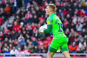 Craig MacGillivray of Portsmouth (15) in action during the EFL Sky Bet League 1 first leg Play Off match between Sunderland and Portsmouth at the Stadium Of Light, Sunderland, England on 11 May 2019.