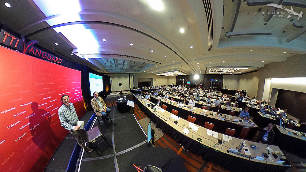 360 image of John Markoff and Michael Hawley on stage at TTI/Vanguard [next] 2015 conference, Grand Hyatt in San Francisco