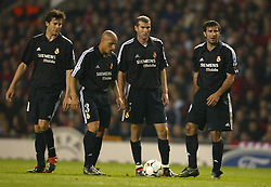 MANCHESTER, ENGLAND - Wednesday, April 23, 2003: Real Madrid's Roberto Carlos, Zinadine Zidane and Luis Figo stand ready to take a free-kick against Manchester United during the UEFA Champions League Quarter Final 2nd Leg match at Old Trafford. (Pic by David Rawcliffe/Propaganda)