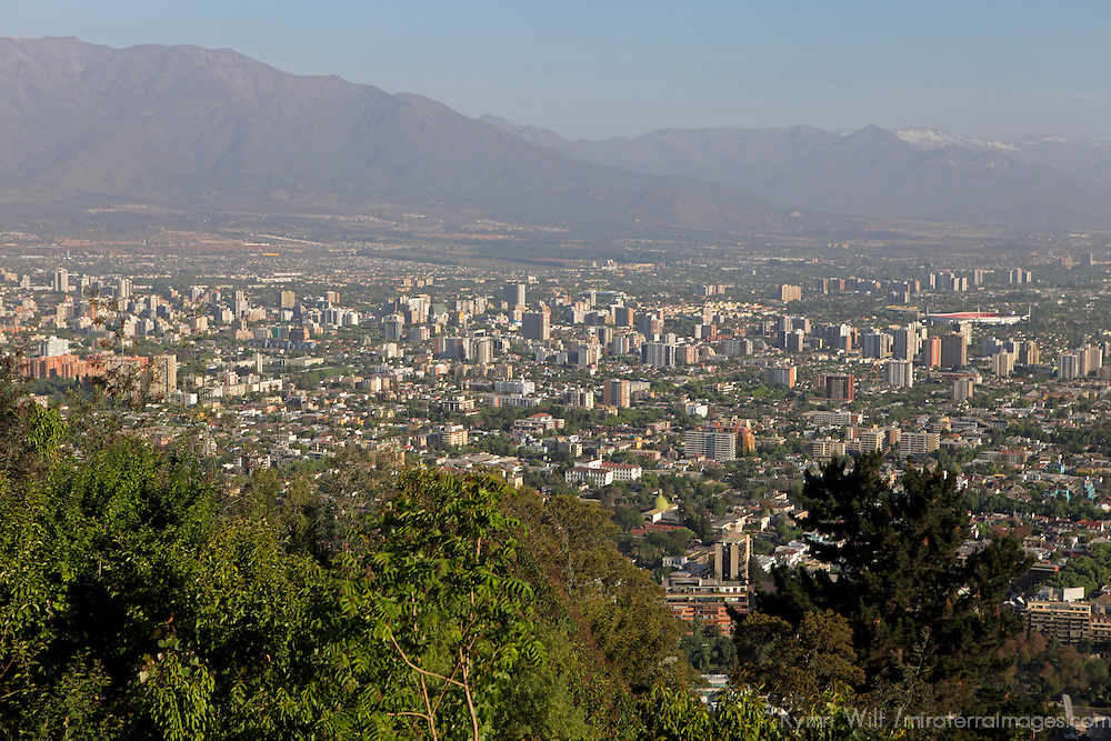 South America, Chile, Santiago. Santiago from San Cristobal Hill.