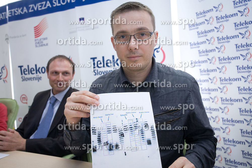 Boris Mikuz and Tadej Malovrh at press conference after athlete H.Javornik accused by CAS because of positive doping test and forbidden to compete for 2 years long, on March 18, 2009, in AZS, Ljubljana, Slovenia. (Photo by Vid Ponikvar / Sportida)