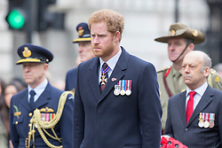 LONDON - UK -25th April 2016:  Prince Harry participates in an Anzac Day service at the Cenotaph in London.<br /> Photograph by Ian Jones.