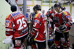 Bernhard Starkbaum, Michael Schiechl and Matthias Iberer #23 of Austria  after the Friendly Ice-hockey match between National teams of Slovenia and Austria on April 19, 2013 in Ice Arena Tabor, Maribor, Slovenia.  Slovenia defeated Austria 5-2. (Photo By Vid Ponikvar / Sportida)