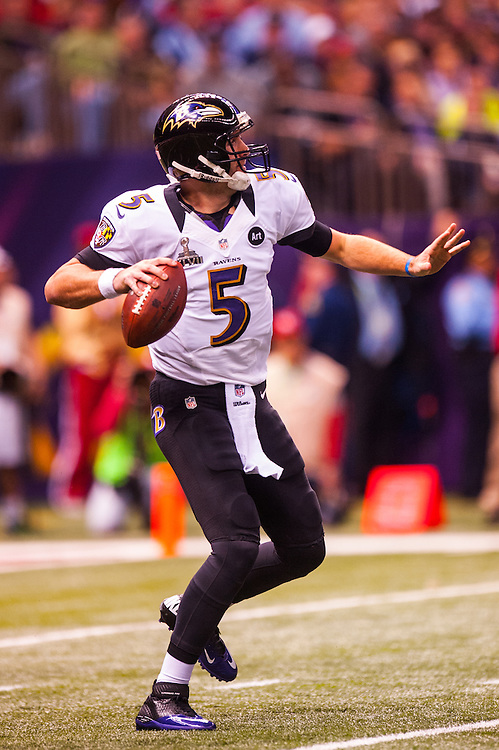 NEW ORLEANS, LA - FEBRUARY 03: Joe Flacco #5 of the Baltimore Ravens drops back to pass during Super Bowl XLVII against the San Francisco 49ers on February 3, 2013 in New Orleans, Louisiana. (Photo by Rob Tringali) *** Local Caption *** Joe Flacco