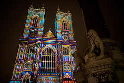 © Licensed to London News Pictures. 17/01/2018. London, UK. Westminster Abbey is lit by French artist Patrice Warrener 'The Light of the Spirit Chapter 2?' during the Lumiere London festival. Running from 18th-21st January 2018 more than 50 artworks are transforming the capital's streets, buildings and public spaces into an immersive nocturnal art exhibition of light and sound. Locations include King's Cross, Fitzrovia, Mayfair, West End, Trafalgar Square, Westminster, Victoria, South Bank and Waterloo. Photo credit: Peter Macdiarmid/LNP