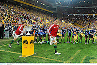 22 June 2013; British & Irish Lions captain Sam Warburton leads his side out ahead of the game. British & Irish Lions Tour 2013, 1st Test, Australia v British & Irish Lions, Suncorp Stadium, Brisbane, Queensland, Australia. Picture credit: Stephen McCarthy / SPORTSFILE