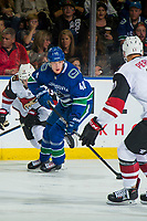 KELOWNA, BC - SEPTEMBER 29:  Elias Pettersson #40 of the Vancouver Canucks looks for the pass as he skates with the puck against the Arizona Coyotes at Prospera Place on September 29, 2018 in Kelowna, Canada. (Photo by Marissa Baecker/NHLI via Getty Images)  *** Local Caption *** Elias Pettersson