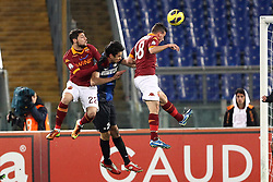 23.01.2013, Olympiastadion, Rom, ITA, TIM Cup, Lazio Rom vs Inter Mailand, Halbfinale, im Bild Gol di Alessandro Florenzi Roma.goal // during the TIM Cup Semi Final 2nd Leg match between between SS Lazio and Inter Milan at the Olympic Stadium, Rome, Italy on 2013/01/23. EXPA Pictures © 2013, PhotoCredit: EXPA/ Insidefoto/ Paolo Nucci..***** ATTENTION - for AUT, SLO, CRO, SRB, BIH and SWE only *****