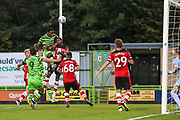 Forest Green Rovers Shawn McCoulsky(21) heads the ball  during the EFL Trophy match between Forest Green Rovers and U21 Southampton at the New Lawn, Forest Green, United Kingdom on 3 September 2019.