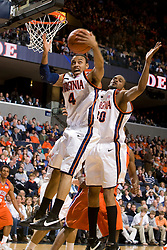 Virginia guard Calvin Baker (4) grabs a rebound against Virginia.  The Virginia Cavaliers men's basketball team hosted the Clemson Tigers at the John Paul Jones Arena in Charlottesville, VA on February 7, 2008.